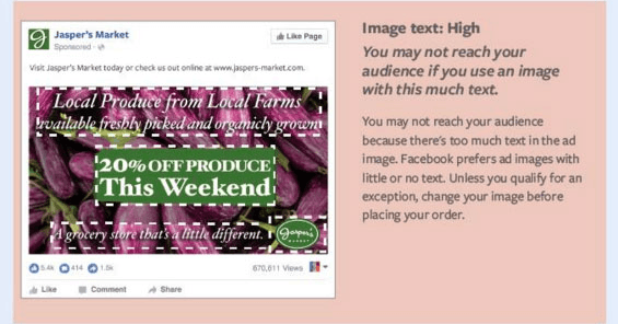 """This picture shows marketers what a """"High"""" rating looks like using Facebook's updated 20 percent text rule."""