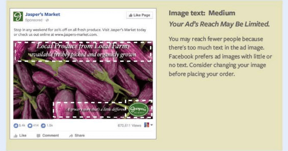 """This picture shows marketers what a """"Medium"""" rating looks like using Facebook's updated 20 percent text rule."""