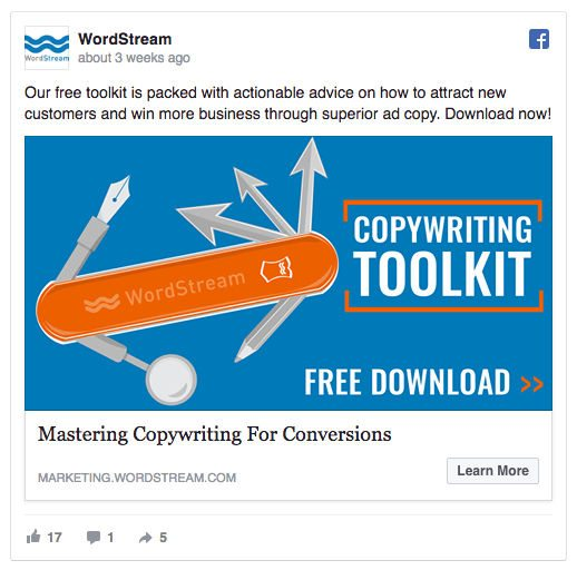 This picture shows marketers how to use compelling CTA text on Facebook ads to increase clickthroughs and conversions.