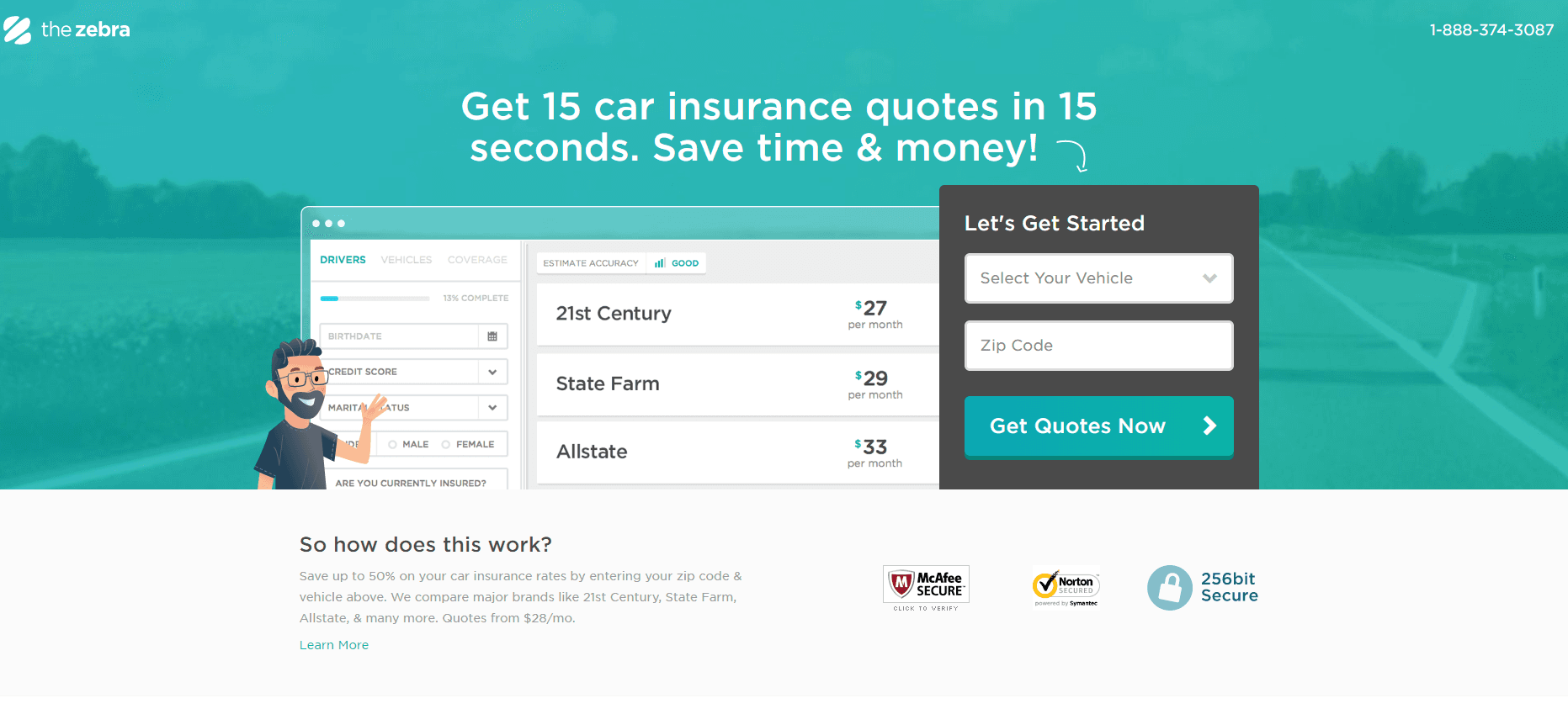 This picture shows marketers how car insurance companies can generate sales leads from landing pages.