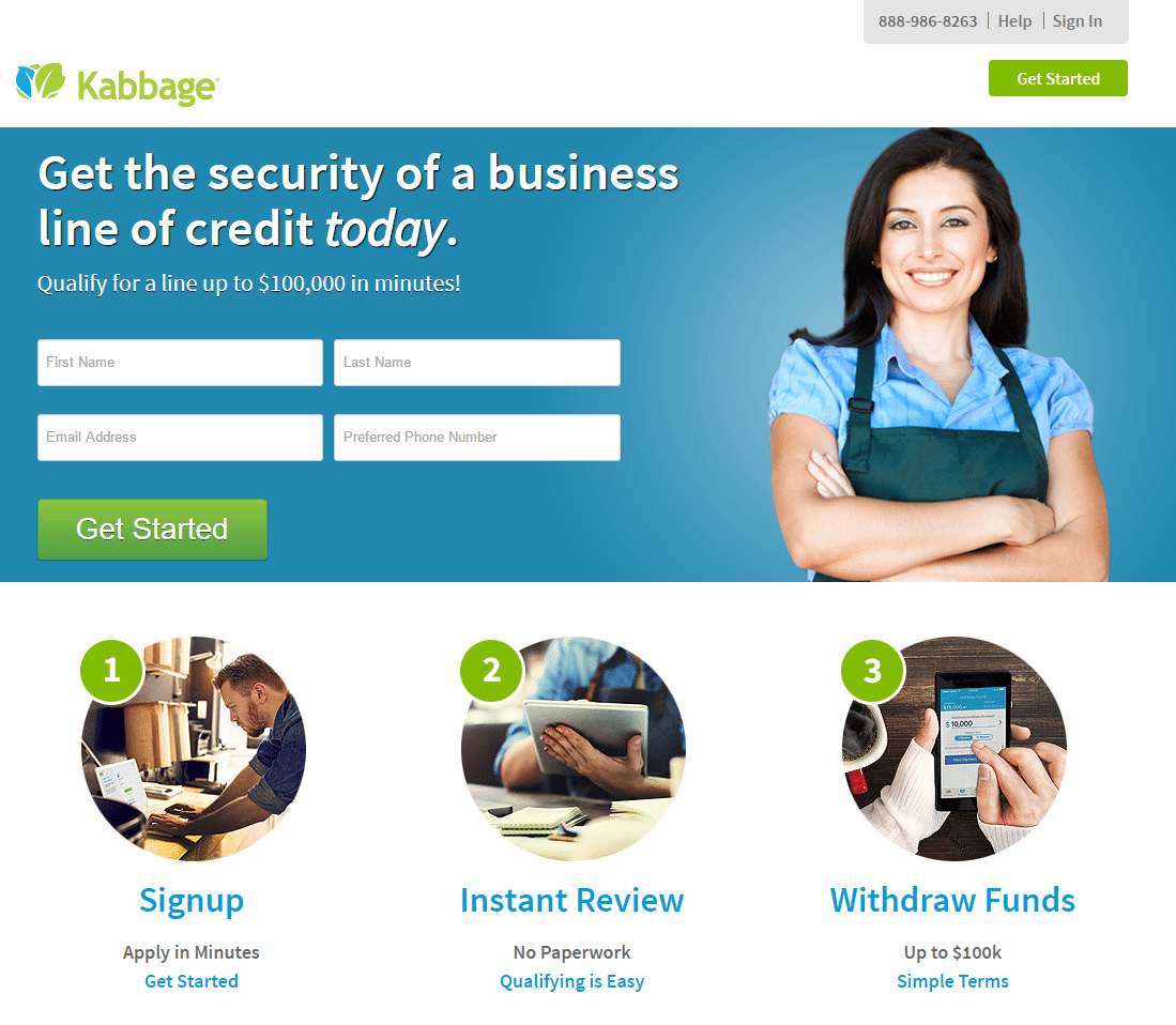 This picture shows marketers how Kabbage uses a financial landing page to generate new business loan leads from new accounts.