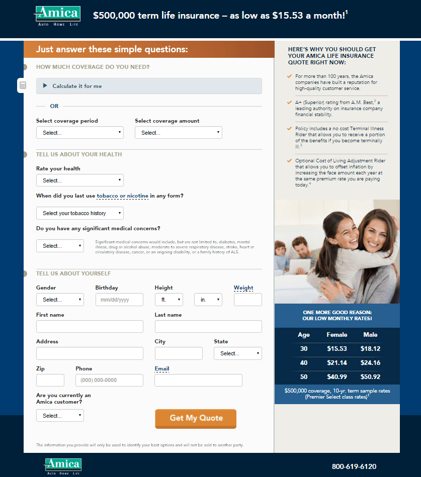 This picture shows marketers how financial landing pages can be used to generate leads from life insurance quotes.