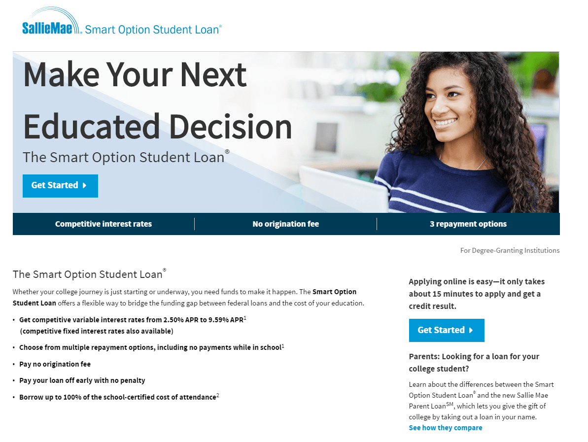 This picture shows marketers how Sallie Mae uses a financial landing page to generate student loan signups.