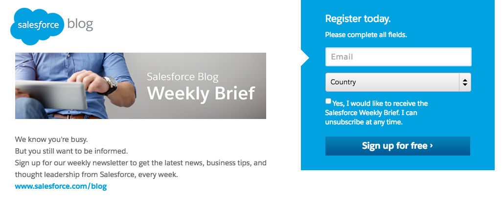 This picture shows marketers how Salesforce grows its blog subscriber list with a dedicated landing page.
