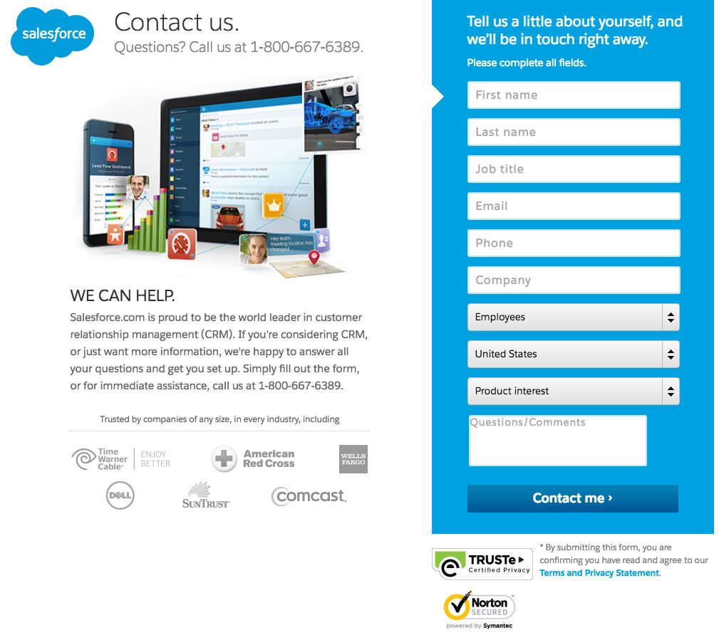 """This picture shows marketers how Salesforce uses a landing page to generate leads on their """"contact us"""" form."""