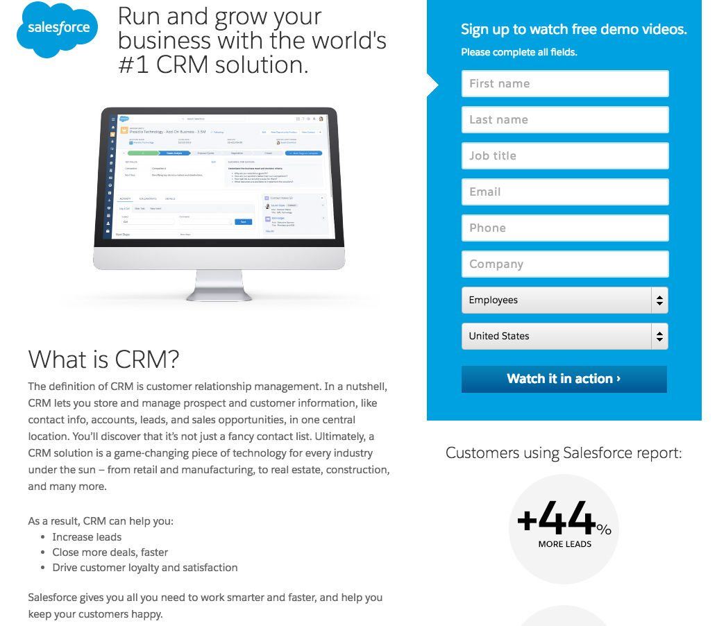 This picture shows marketers how Salesforce uses a landing page to generate leads from its CRM demo videos.