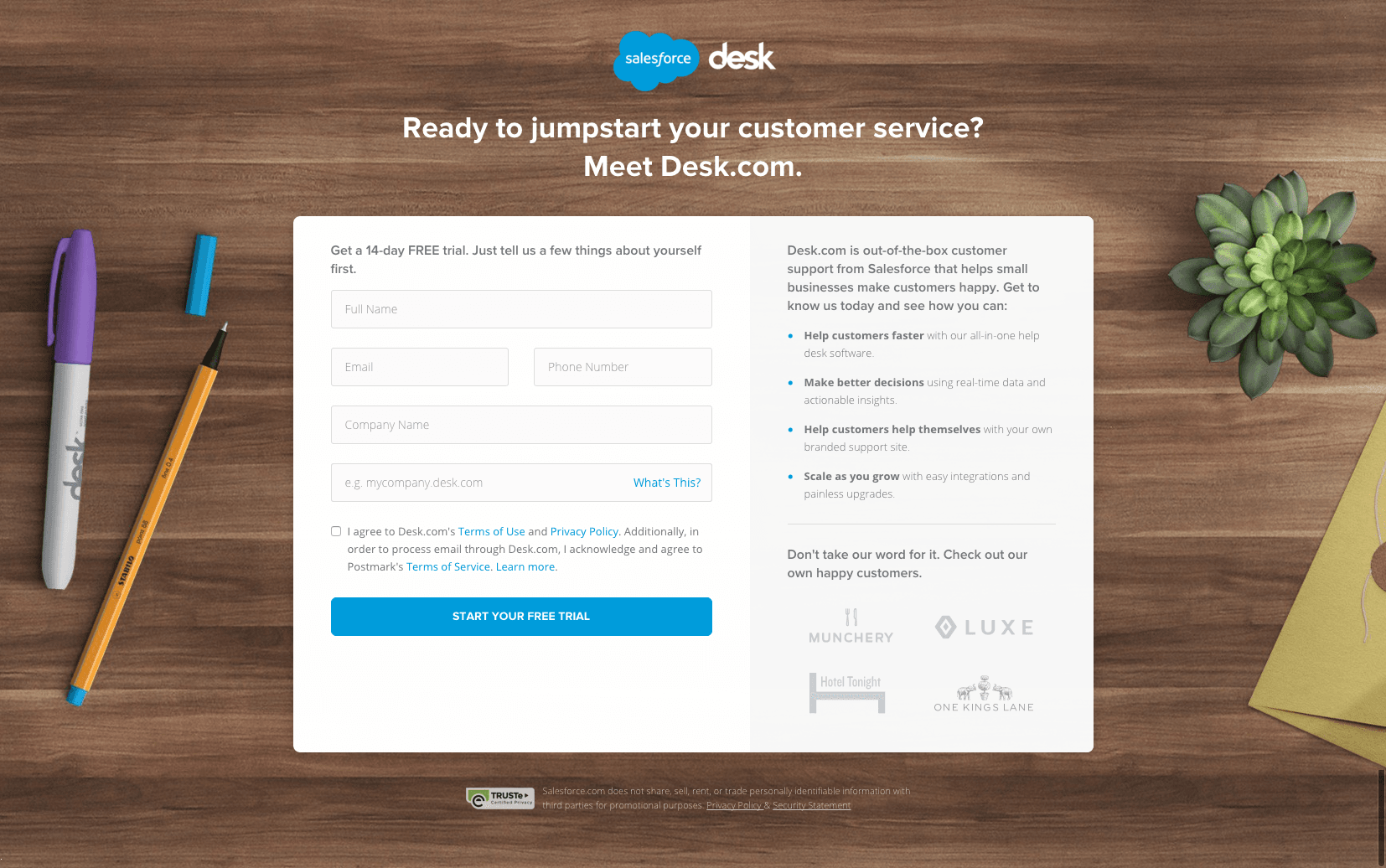 This picture shows marketers how Salesforce uses a well-designed landing page to generate free trials for its Desk.com service.