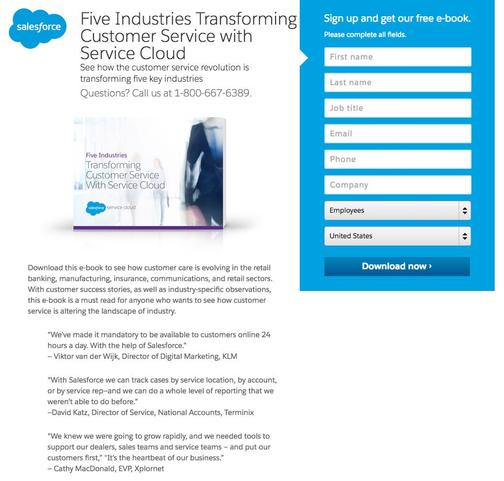 This picture shows marketers how Salesforce uses a landing page to generate ebook downloads and leads.