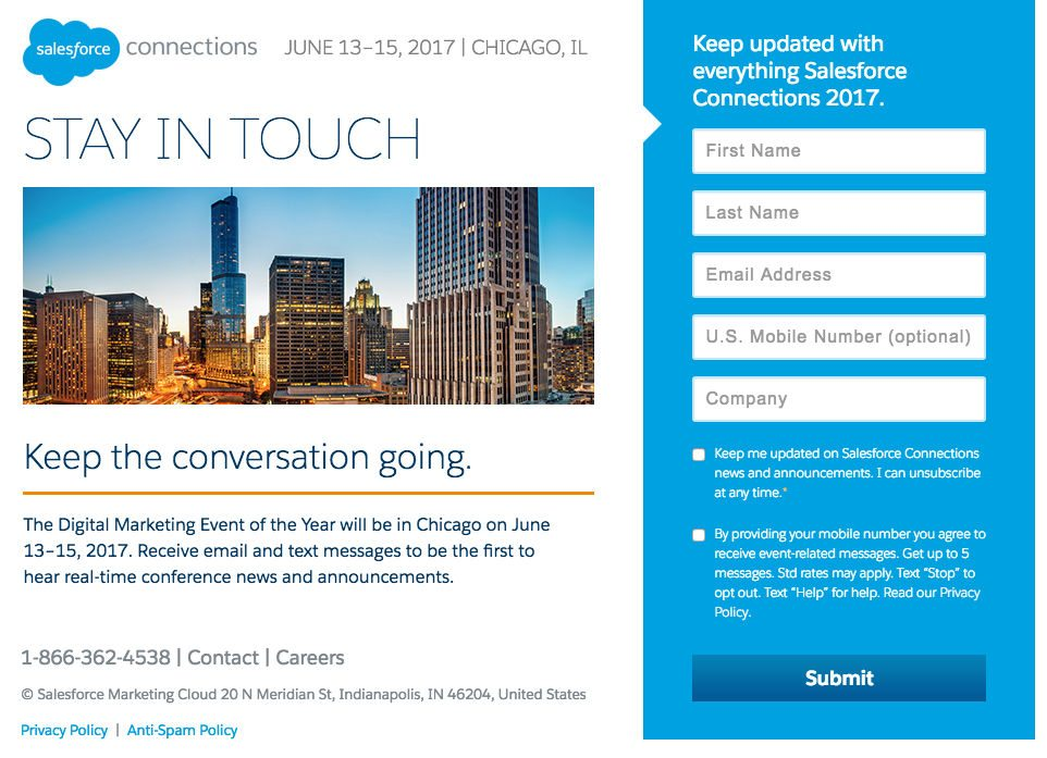 This picture shows marketers how Salesforce uses an event landing page to grow its email list and drive event signups.