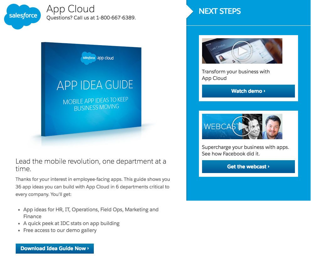 """This picture shows marketers how Salesforce uses a landing page to generate downloads for its """"App Idea"""" guide."""
