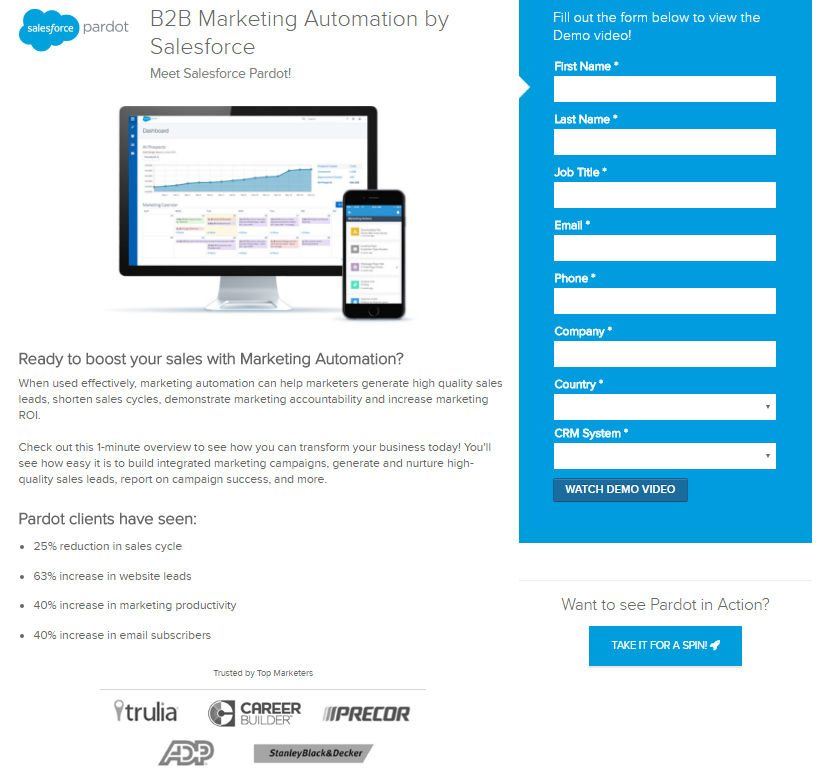 This picture shows marketers how Salesforce uses a dedicated landing page to generate leads for its Pardot demo video.
