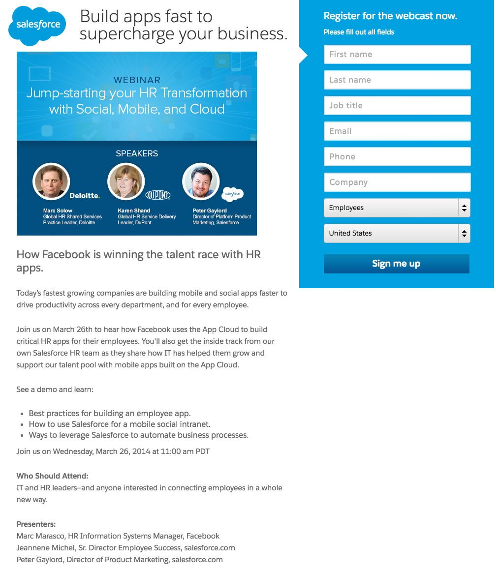 This picture shows marketers how Salesforce uses a webinar landing page to generate registrations and sales leads.