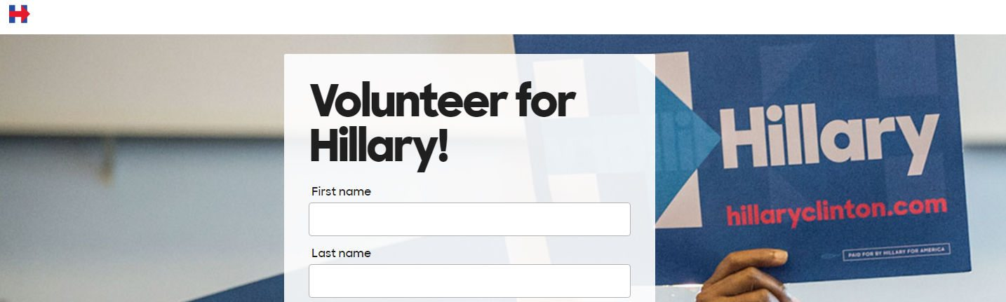This picture shows marketers how Hillary Clinton uses a lead capture form to generate new volunteer signups on her campaign.