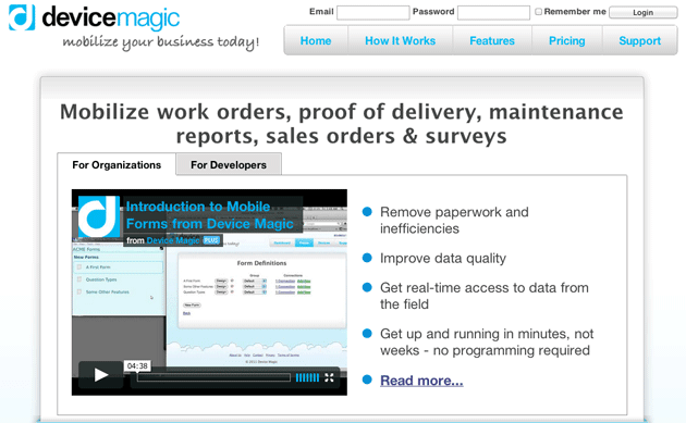 this image shows the control page for Device Magic's A/B test. To avoid making any A/B testing mistakes Device Magic tested whether video would perform well on the page, instead of blindly following best practices