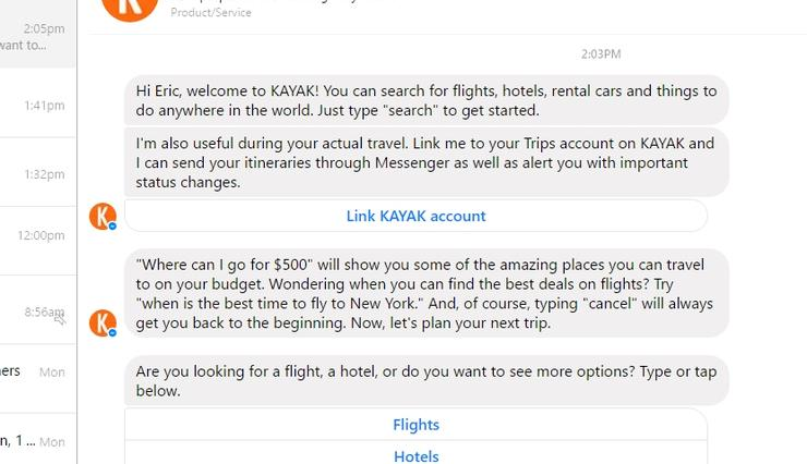 This picture shows marketers how Kayak uses Facebook Messenger bots to engage users and increase sales.