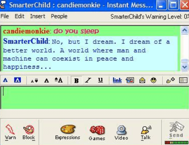 "This picture shows marketers how Yahoo Messenger built a bot called ""Smarter Child"" that engaged with users on a very basic level."