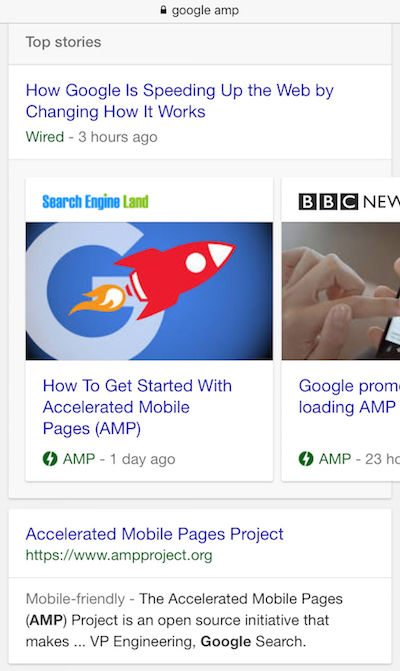 This picture shows marketers how Google AMP ads are displayed in search engine results, providing a better user experience.