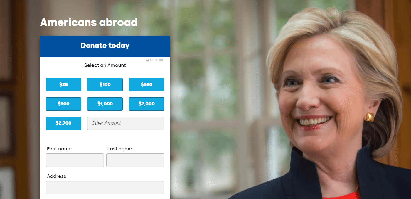 This picture shows marketers how Hillary Clinton uses a visual cue to generate donations from Americans abroad.