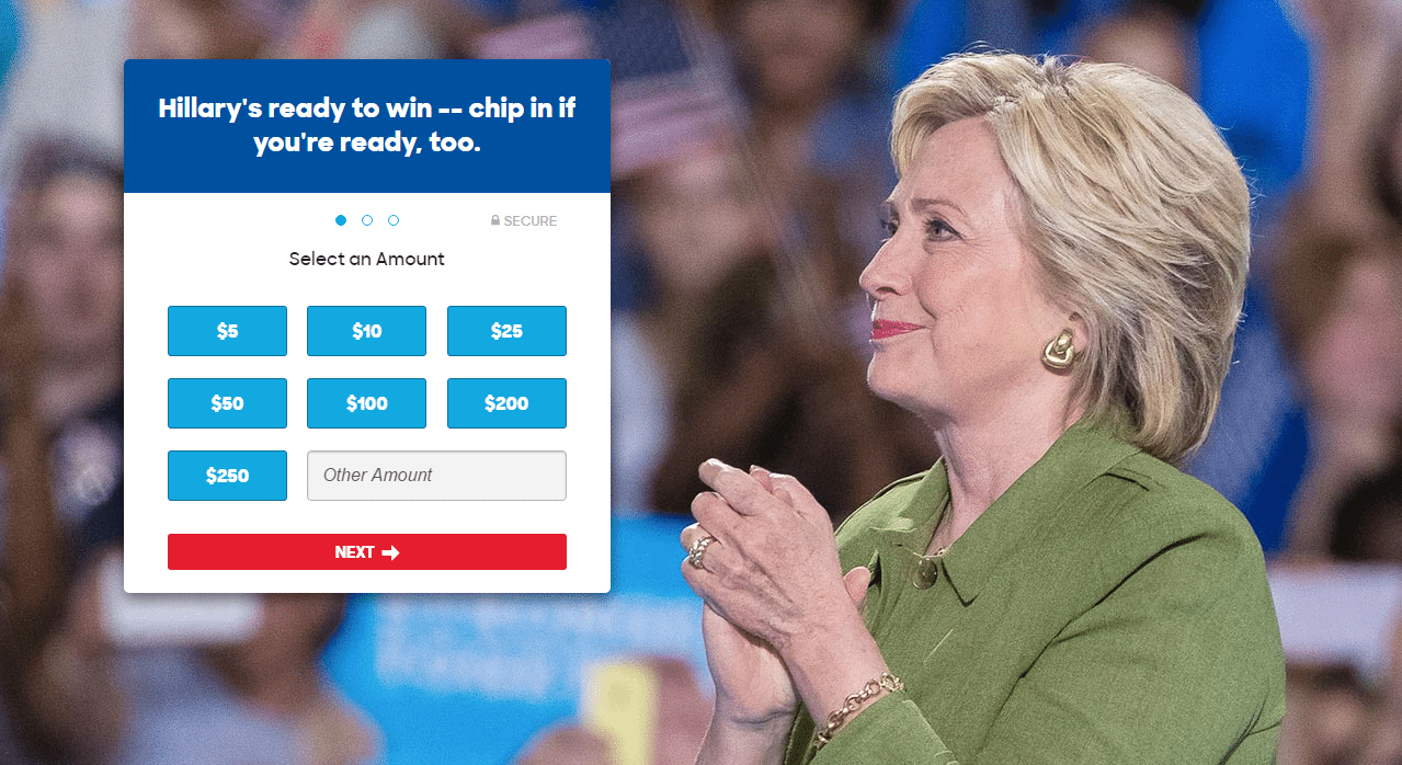 This picture shows marketers how Hillary Clinton uses a visual cue to generate campaign donations.