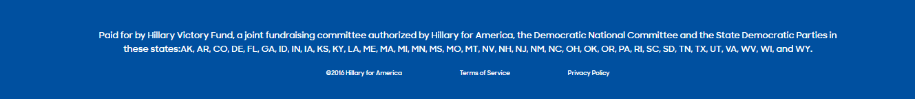 This picture shows marketers how Hillary Clinton uses a minimalistic footer to generate more conversions and campaign donations.