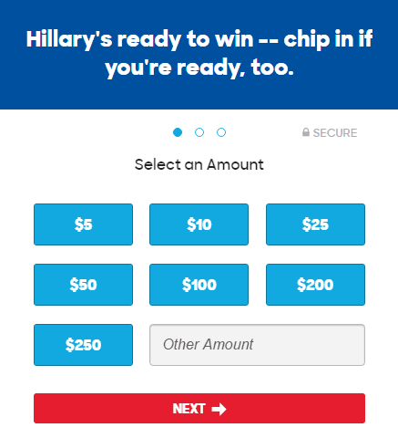This picture shows marketers how Hillary Clinton uses a progress bar to inform visitors how long the conversion process is.