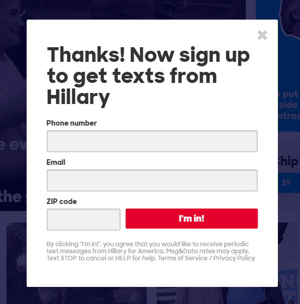 This picture shows marketers how Hillary Clinton uses a squeeze page to generate new email list subscribers.