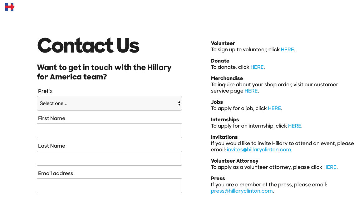 This picture shows marketers how Hillary Clinton uses a lead capture form to increase engagement among her supporters.