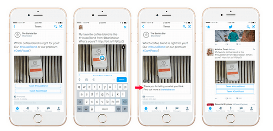 This picture shows marketers how to advertise on Twitter using conversational ads.