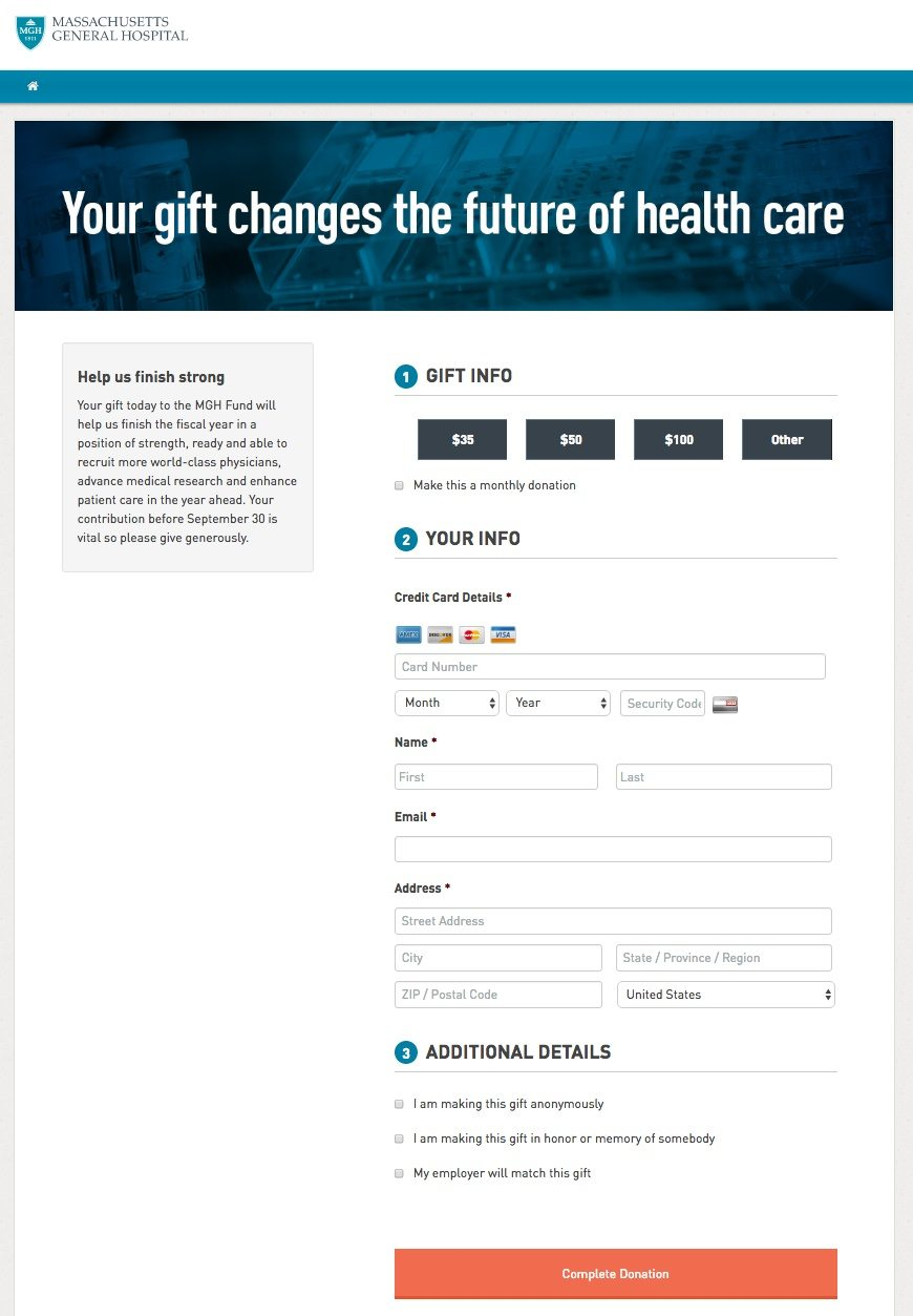This picture shows marketers how Massachusetts General Hospital uses an email landing page to collect more donations.