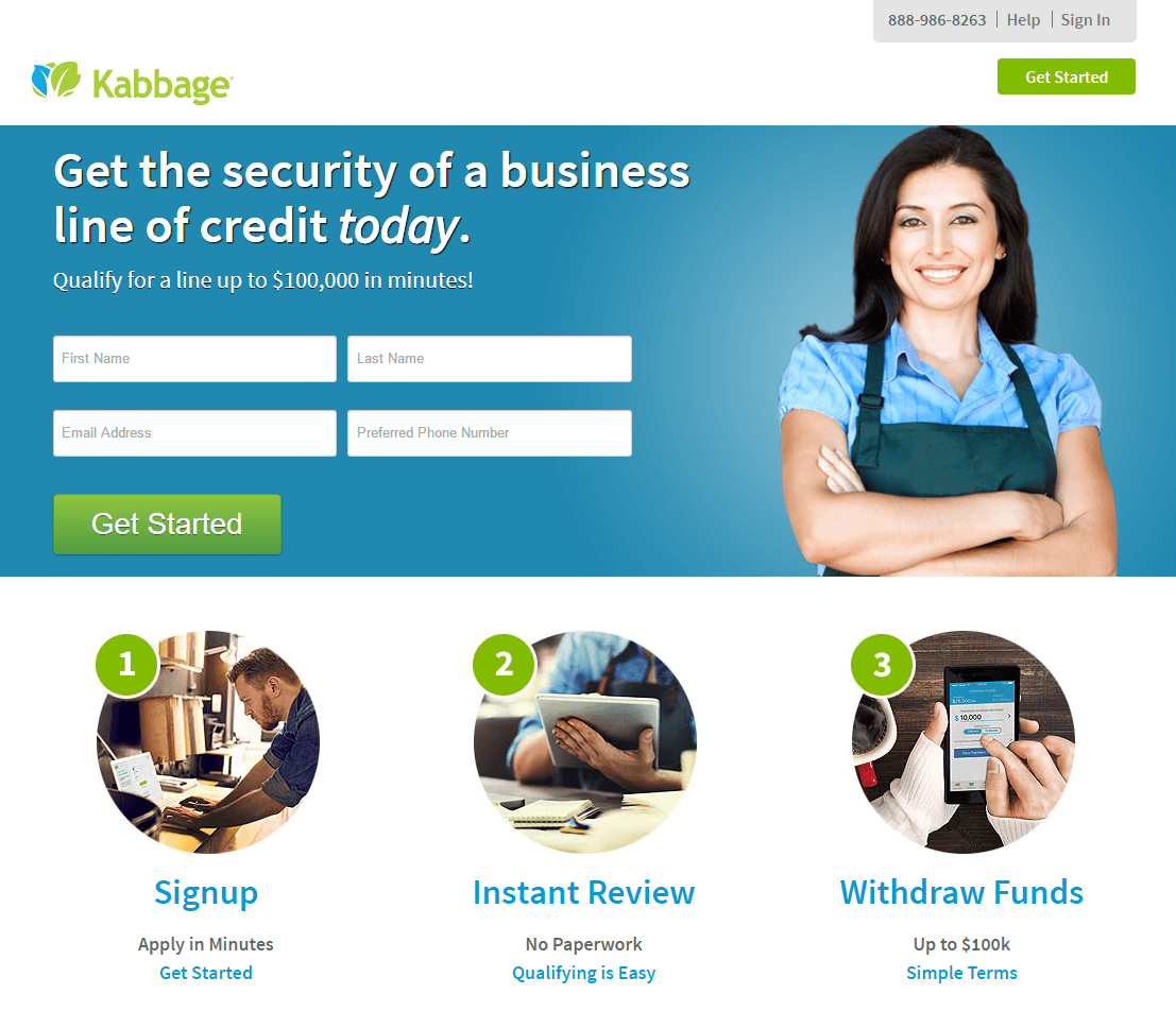 This picture shows marketers how Kabbage uses an email landing page to generate more signups.