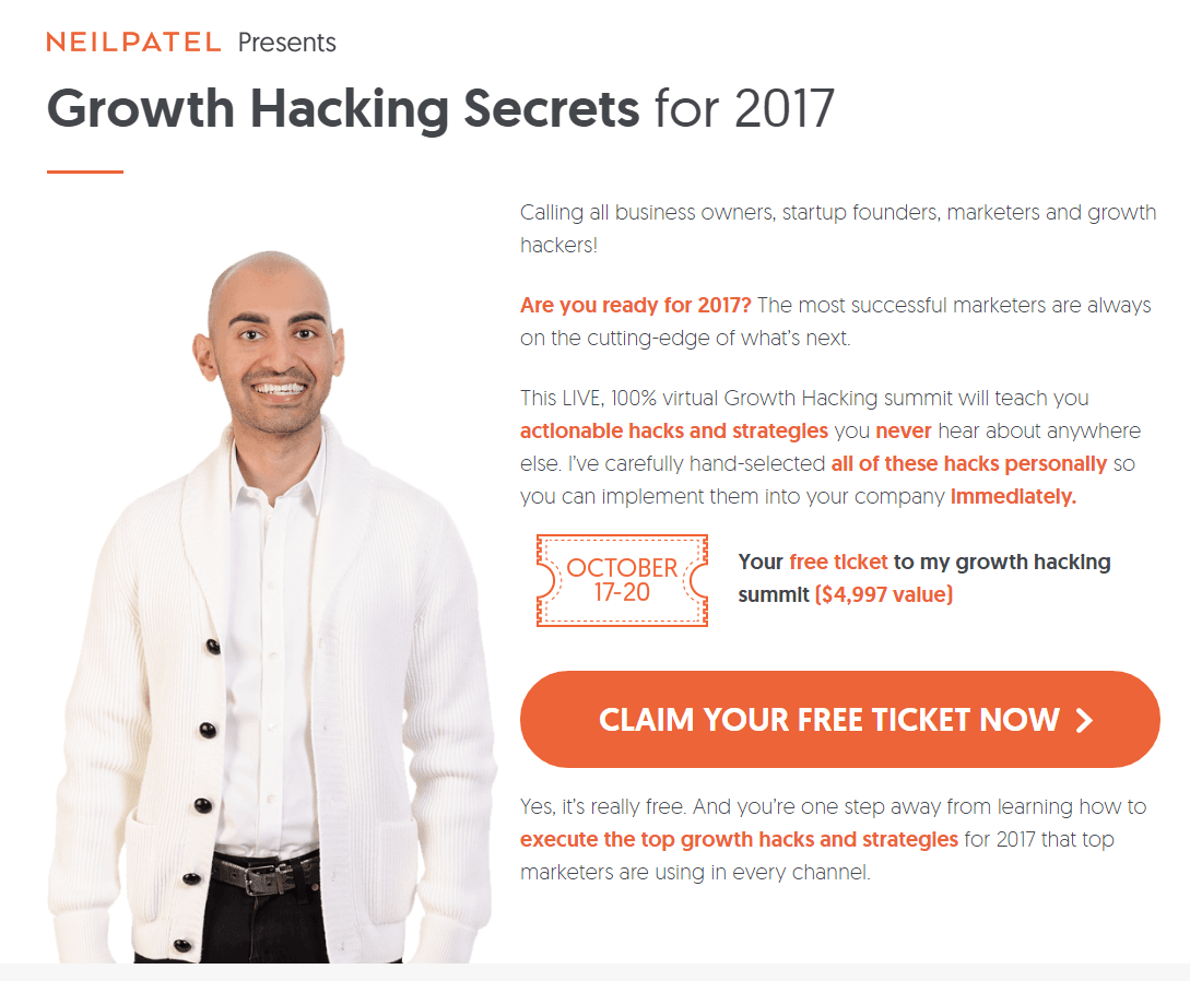 This picture shows marketers how Neil Patel uses an email landing page to generate more tickets for his growth hacking summit.