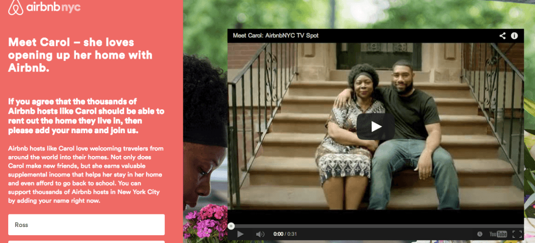 This picture shows how Airbnb uses emotional marketing to generate brand awareness and more signups.