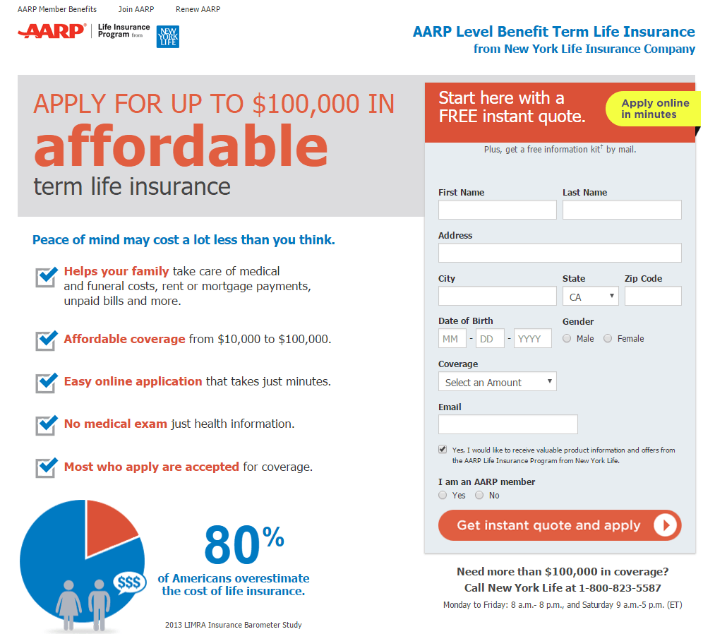 Aarp Term Life Insurance Quotes 8 Insurance Landing Page Examples That Generate Maximum Leads
