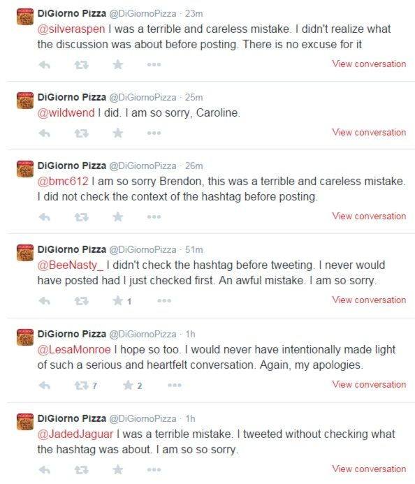 This picture shows DiGiorno's Pizza apologizing to Twitter followers for an insensitive hashtag.