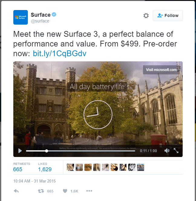 This picture shows marketers how to run a Twitter ad campaign using video views, and Microsoft's Surface as the example.