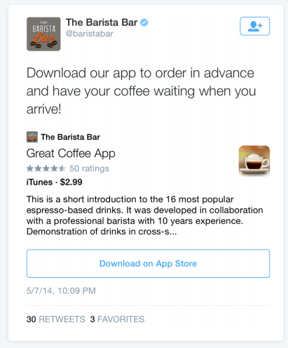 This picture shows marketers how to advertise on Twitter using basic app cards.