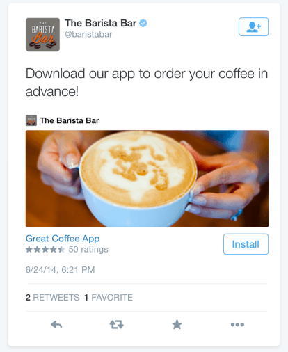 This picture shows marketers how to advertise on Twitter using image app cards.