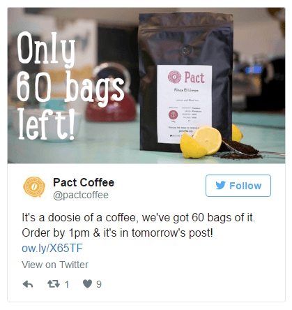 This picture shows marketers how to run a tweet engagement ad campaign on Twitter with Pact Coffee as the example.