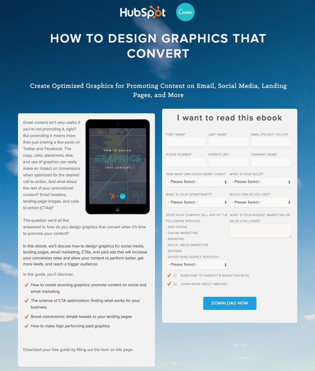 20 ebook landing page examples used by todays best brands this picture shows marketers how hubspot and canvas use an ebook landing page to generate new fandeluxe Image collections