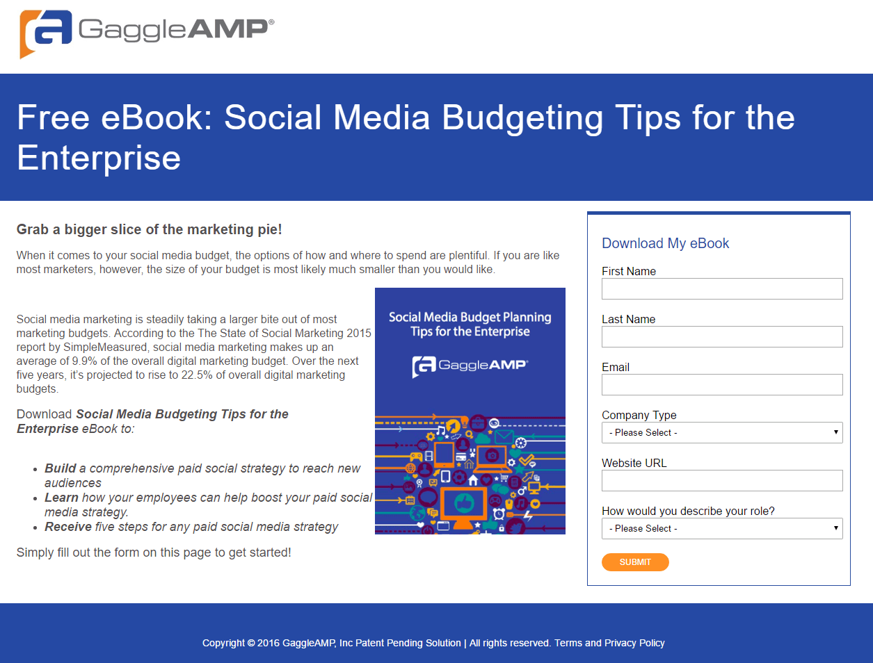This Picture Shows Marketers How GaggleAMP Uses An Ebook Landing Page To Generate Leads And Maximize