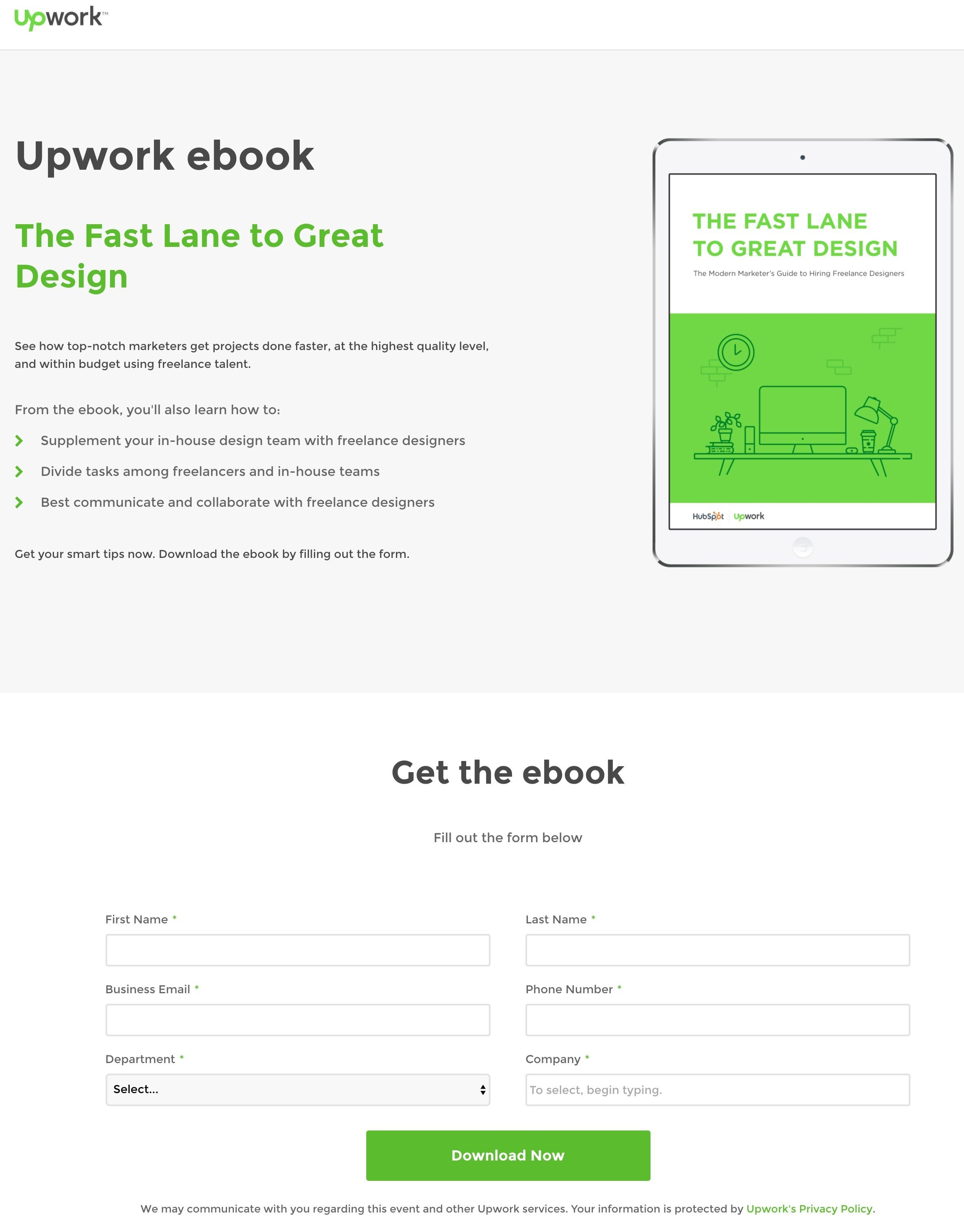 20 ebook landing page examples used by todays best brands this picture shows marketers how upwork uses an ebook download to generate leads and grow its fandeluxe Gallery
