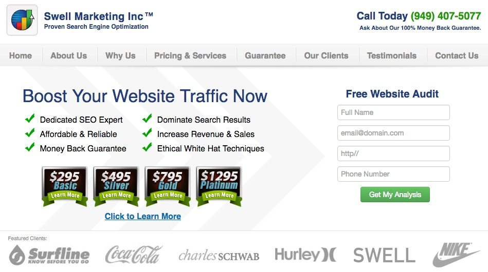 This picture shows marketers how SEO agency Swell Marketing grows by upselling to their larger service packages.
