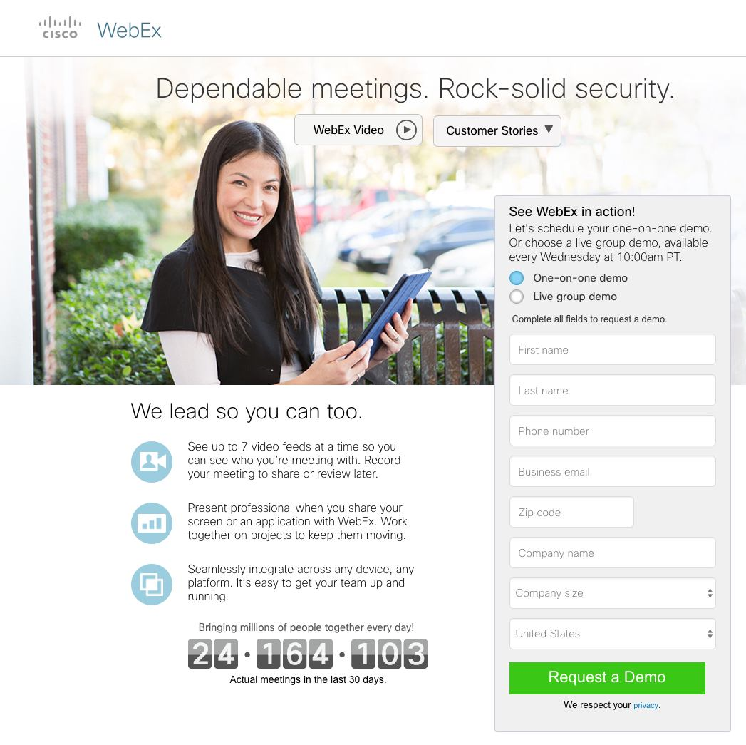 This picture shows how Cisco and WebEx use a landing page form to increase conversions on their demo sign up landing page.
