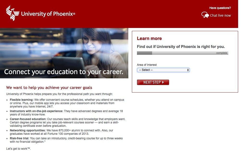 This picture shows marketers how the University of Phoenix uses a multi-step form to generate more leads and potential sales.