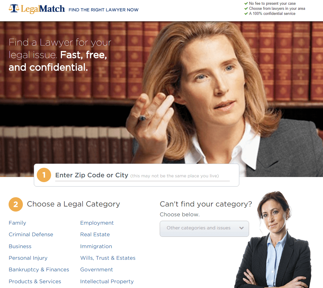 This picture shows how Legal Match uses a legal landing page to generate more leads and sales.