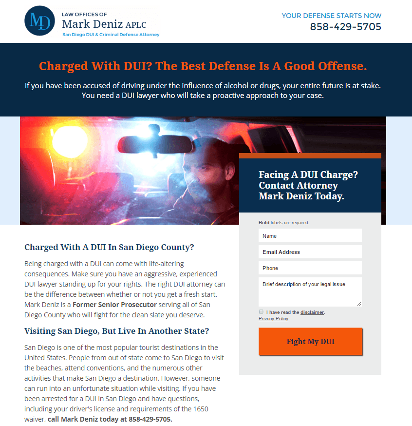 This picture shows marketers how DUI attorneys can use legal landing pages to generate more leads and clients.