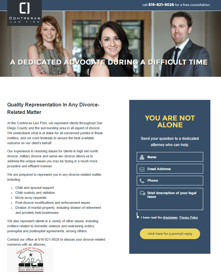 This picture shows marketers how the Contreras Law Firm uses a law firm landing page to sign more clients.