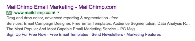 """This picture shows how MailChimp PPC ads display at the top of search engine results for """"email marketing tool."""""""