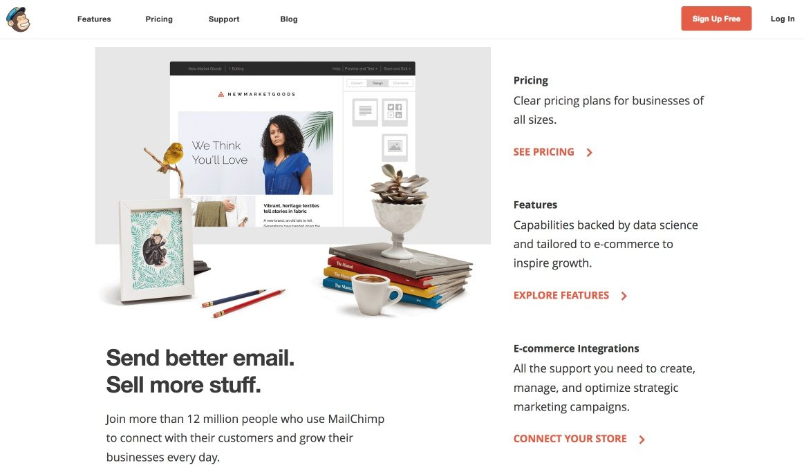 This picture shows how MailChimp uses its homepage for PPC ads instead of a landing page, which can lower conversion rates.