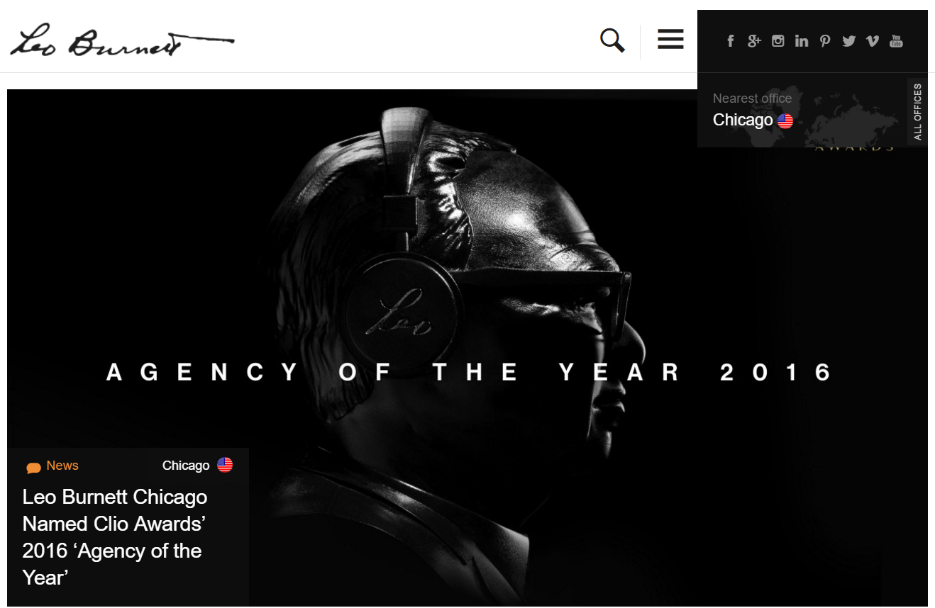 This picture shows how Leo Burnett's agency displays their agency of the year award on the homepage to sign more clients.